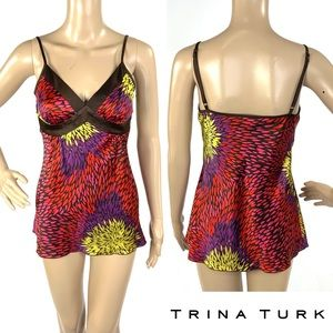 BNWOT TRINA TURK multicolored cami top silk tank